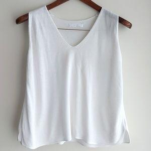 OAK + FORT sleeveless knit sweater vest white sz S